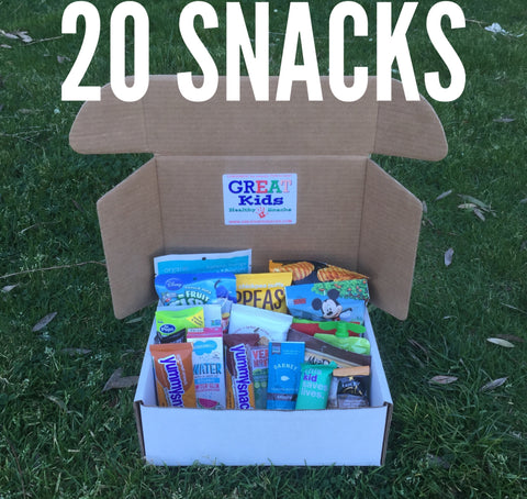 GREAT Kids Snack Box - 20 Organic All Natural Healthy Snacks