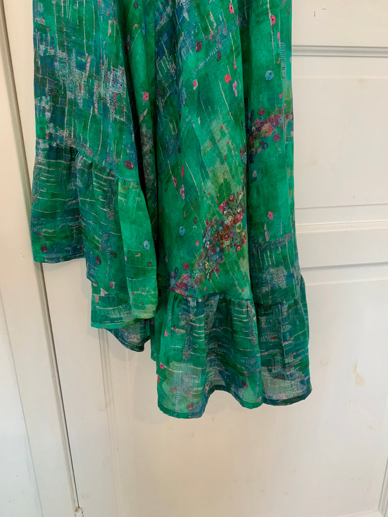 DRESS GREEN SILK