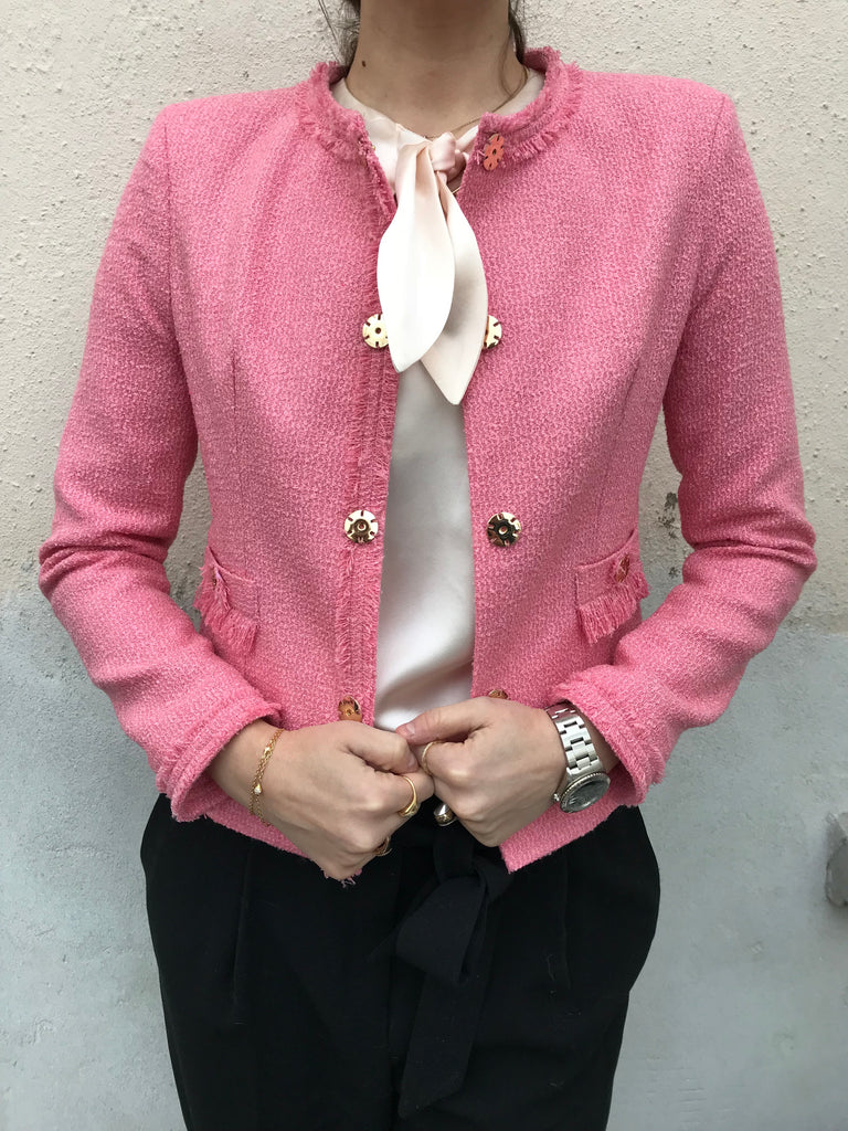 JACKET BOUCLE CORAL PINK