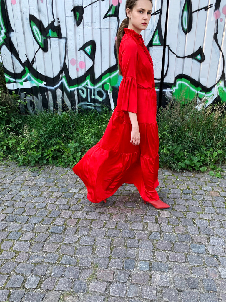 DRESS RED SILK