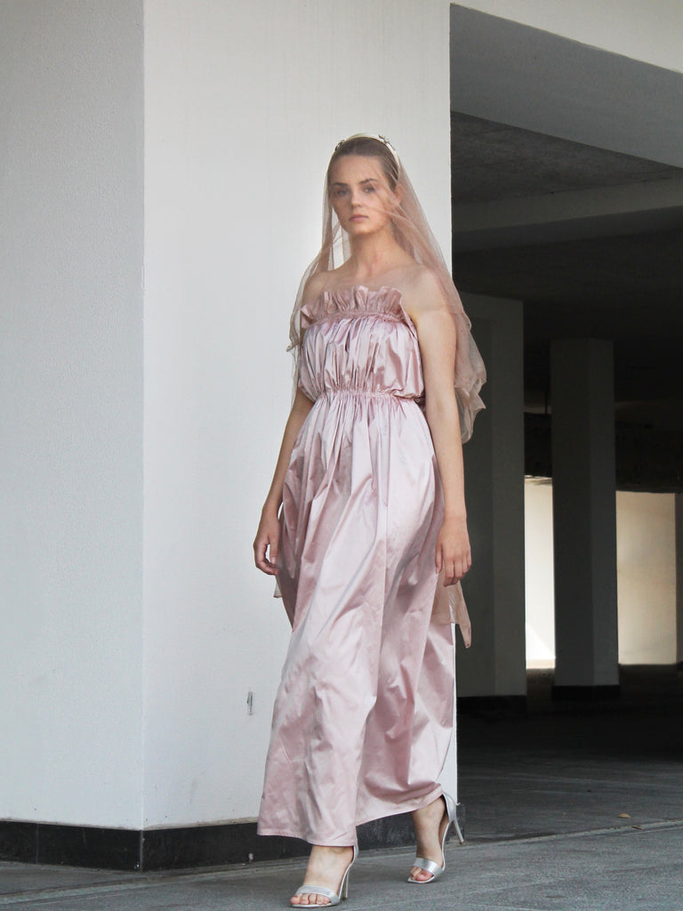 LONG DRESS SILK NUDE