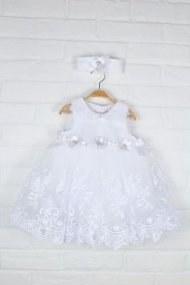 White Christening Dress with Matching Hairband