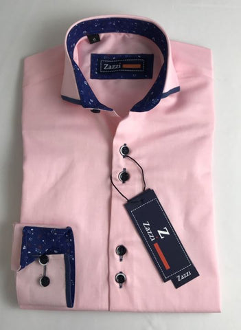 Zazzi Boys Pink Shirt With Navy Trim Collar