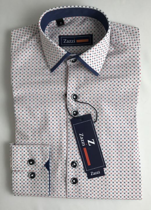 Zazzi Boys Patterned Shirt With Navy Trim Collar