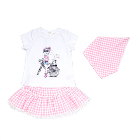 Babybol Dress and Headscarf Set in Pink Gingham
