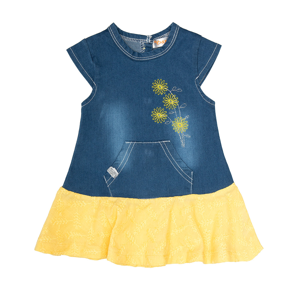 Babybol Denim and Yellow Baby Girl Dress