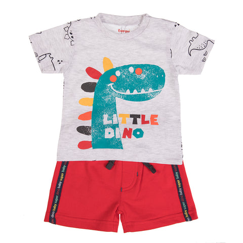Babybol Baby Boy Short Set with Dinosaur Graphic