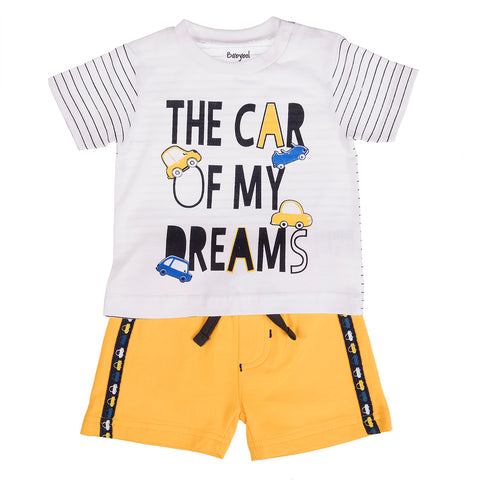 Babybol Baby Boy Short Set with Front Graphic Car Print