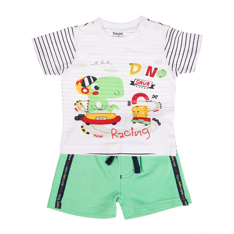 Babybol Baby Boy T-Shirt and Shorts with Dinosaur Graphic