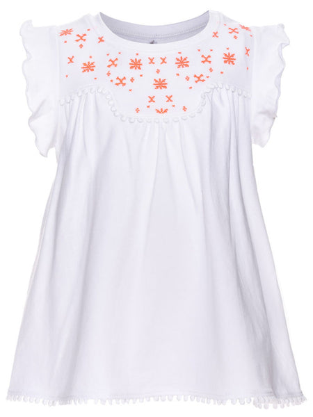 Name it Mini Girl Cap Sleeved Printed Top White