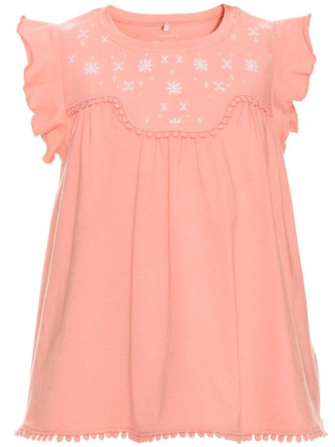 Name it Mini Girl Cap Sleeved Printed Top Pink