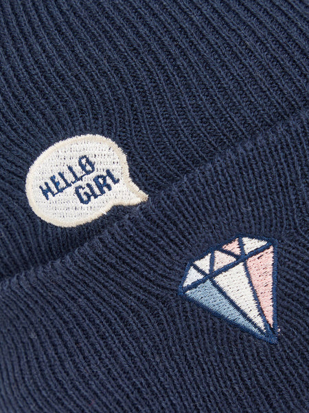 Name it Girls Knitted Hat with Badges hello girl badges