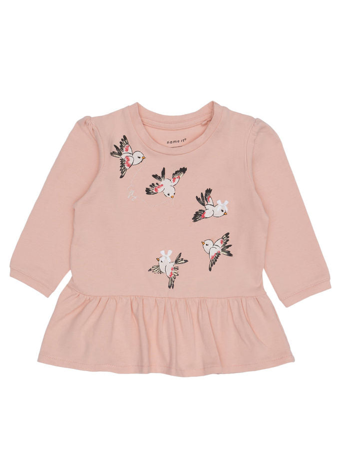 Name it Newborn Girl Long Sleeved Bird Top in Pink FRONT