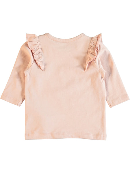 Name it Newborn Girl Bird Top with Frill Detail and Long Sleeves