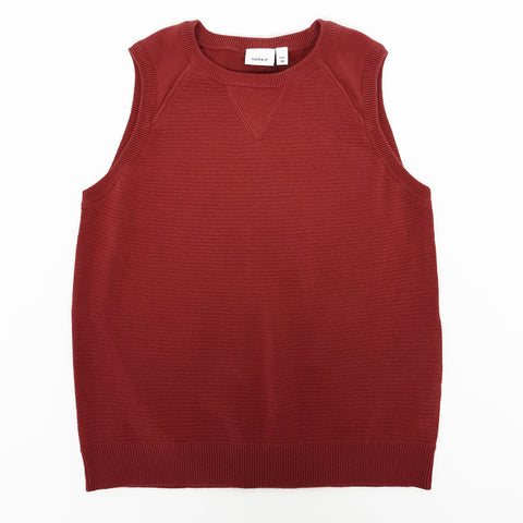 Name it Boys Sleeveless Knitted Jumper Brick Red
