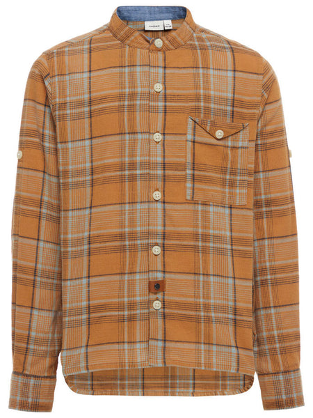 Name it Boys Check Shirt with Grandad Style Collar