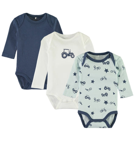 Name it Baby Boy 3-Pack Long Sleeved Cotton Bodysuits