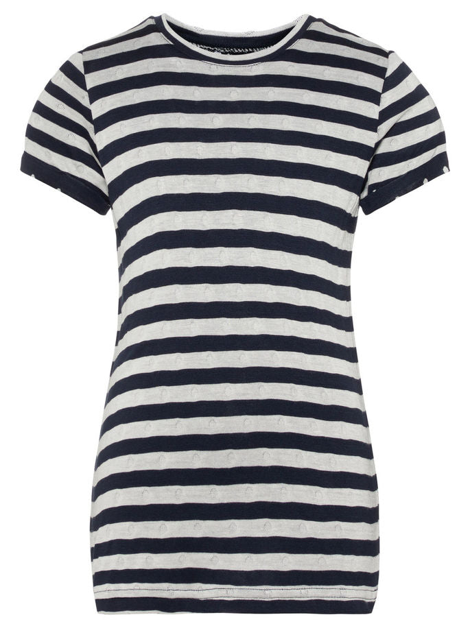 Name it Girls T-Shirt with Stripes BRIGHT WHITE FRONT