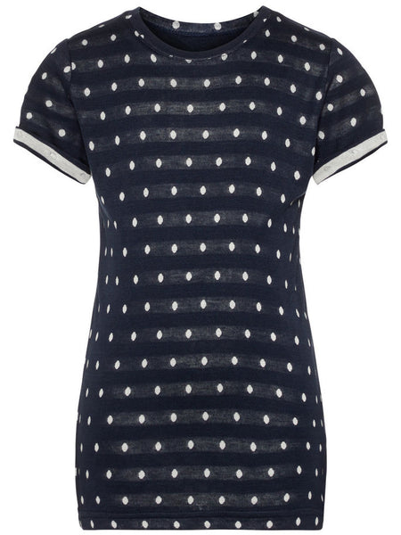 Name it Girls T-Shirt with Spots DARK SAPPHIRE FRONT