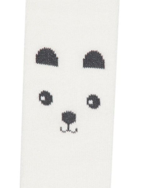 Name it Newborn Girl Bear Printed Tights in White PRINT
