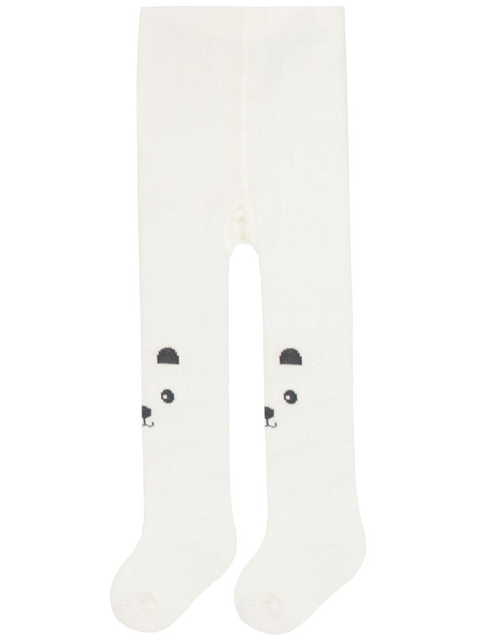 Name it Newborn Girl Bear Printed Tights in White FRONT
