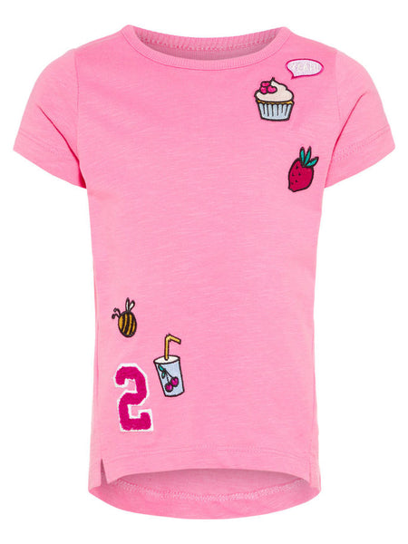 Name it Mini Girl T-Shirt with Colourful Motifs WILD ORCHID FRONT