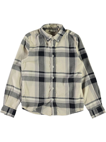 Name it Boys Long Sleeved Beige Button Up Check Shirt front