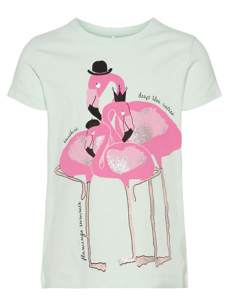 Name it Mini Girl T-Shirt with Pink Glitter Flamingos DUSTY AQUA FRONT