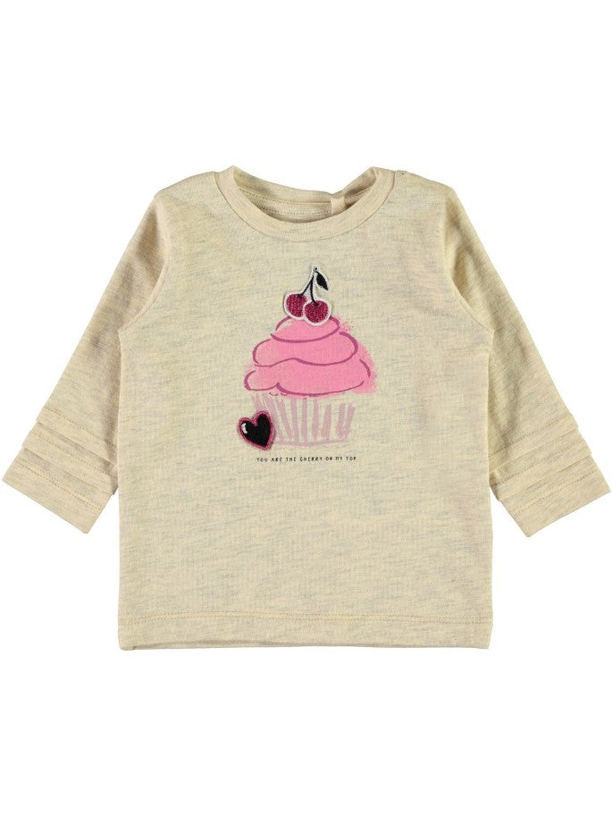 Name it Baby Girl Cherry On Top & Bee Yourself Long Sleeved Tops PEYOTE FRONT