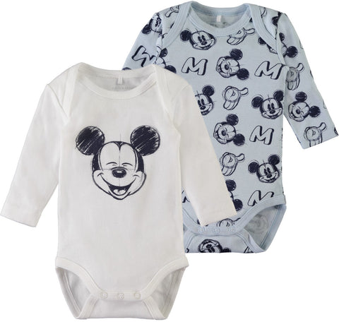 Name it Baby Boy 2-Pack Mickey Mouse Cotton Romper Bodysuits 2 PACK