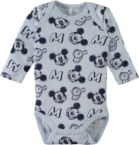 Name it Baby Boy 2-Pack Mickey Mouse Cotton Romper Bodysuits BLUE