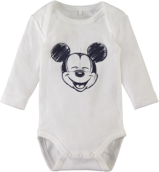 Name it Baby Boy 2-Pack Mickey Mouse Cotton Romper Bodysuits WHITE