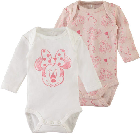 Name it Baby Girl 2-Pack Minnie Mouse Long Sleeved Cotton Romper Bodysuits SET