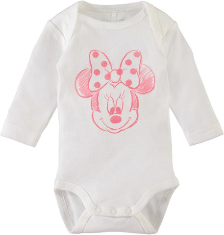 Name it Baby Girl 2-Pack Minnie Mouse Long Sleeved Cotton Romper Bodysuits WHITE FRONT