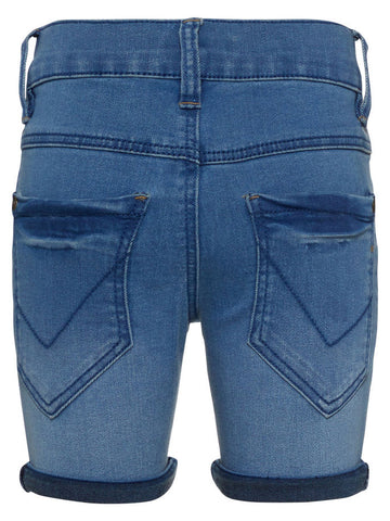Name it Mini Boy Slim fit Light Blue Denim Long Shorts Back View