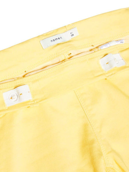 Name it Girls Twill Capri Crop Trousers in YELLOW ADJUSTABLE WAIST