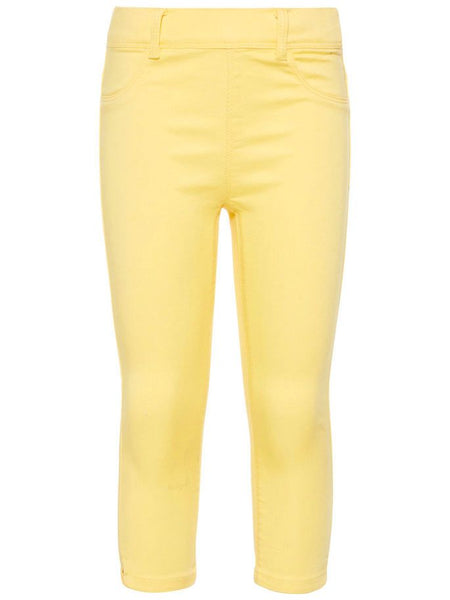 Name it Girls Twill Capri Crop Trousers in YELLOW FRONT