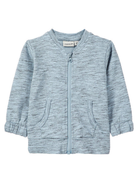 Baby Boy Zip Up Organic Cotton Light Blue Sweat Cardigan