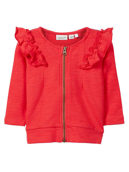 Name it Baby Girl Organic Cotton Zip Up Sweat Cardigan with Frill on Shoulders HIBISCUS FRONT