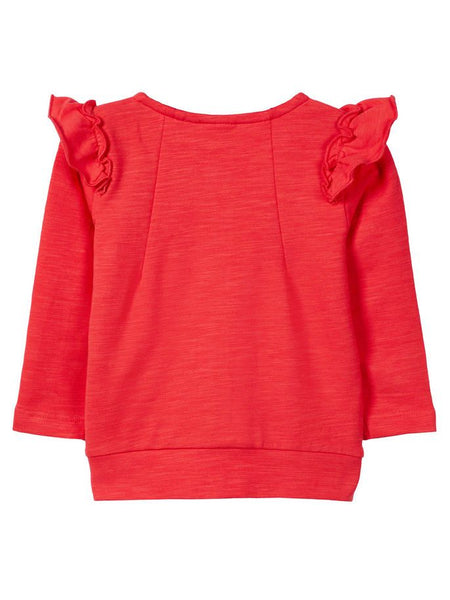 Name it Baby Girl Organic Cotton Zip Up Sweat Cardigan with Frill on Shoulders HIBISCUS BACK