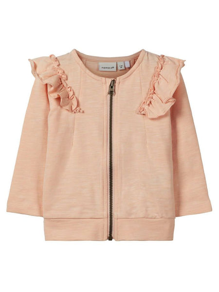 Name it Baby Girl Organic Cotton Zip Up Sweat Cardigan with Frill on Shoulders PEACHY KEEN FRONT