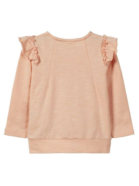 Name it Baby Girl Organic Cotton Zip Up Sweat Cardigan with Frill on Shoulders PEACHY KEEN BACK