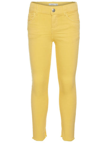 Name it Girls Skinny Fit Twill Ankle Pants in Yellow FRONT