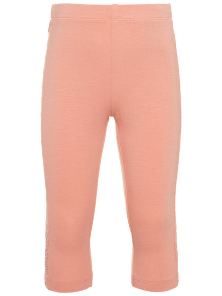 Name it Mini Girl Solid Pink & Blue Capri Leggings with Perforated Detail on Sides BLOOMING DAHLIA FRONT