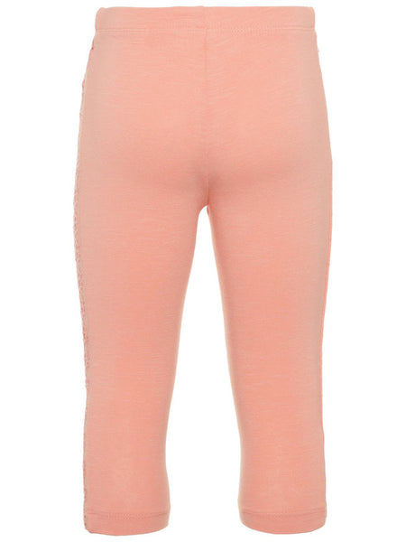 Name it Mini Girl Solid Pink & Blue Capri Leggings with Perforated Detail on Sides BLOOMING DAHLIA BACK