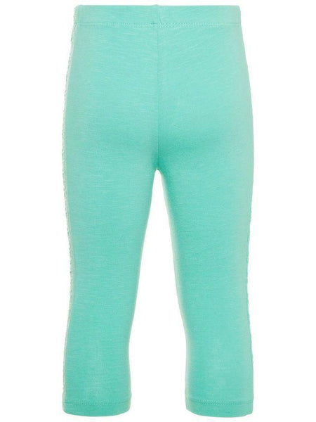 Name it Mini Girl Solid Pink & Blue Capri Leggings with Perforated Detail on Sides POOL BLUE