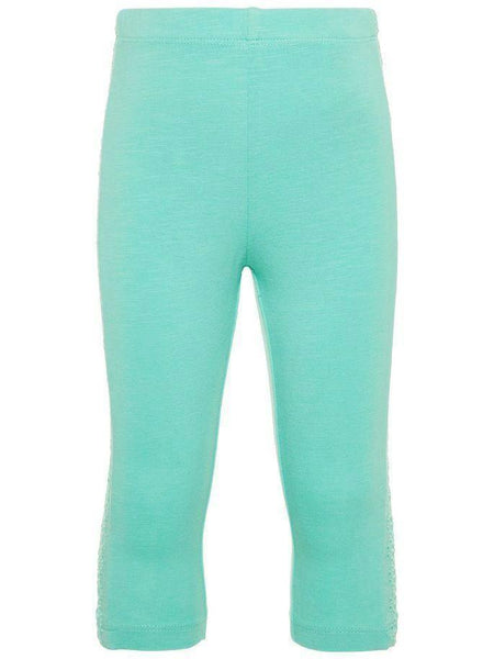 Name it Mini Girl Solid Pink & Blue Capri Leggings with Perforated Detail on Sides POOL BLUE FRONT