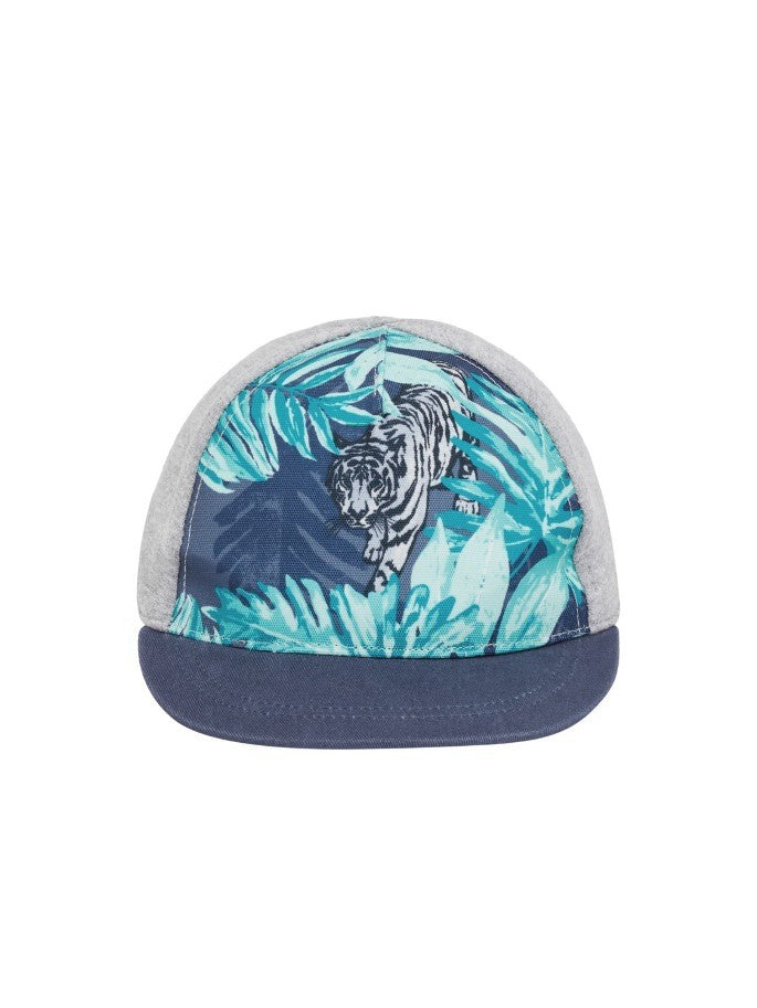 Name it Mini Boy Cap with Tiger Print in Grey FRONT
