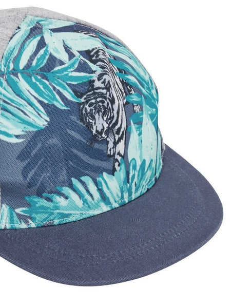 Name it Mini Boy Cap with Tiger Print in Grey CLOSE UP