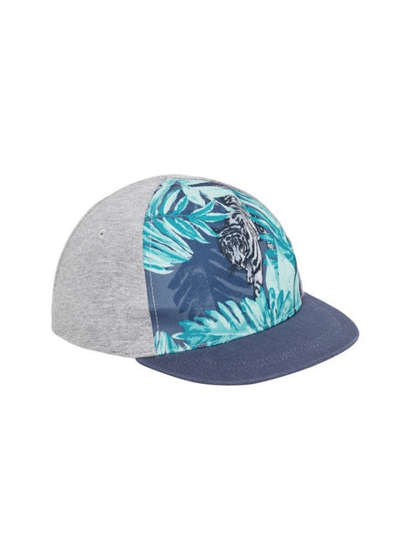 Name it Mini Boy Cap with Tiger Print in Grey FRONT SIDE